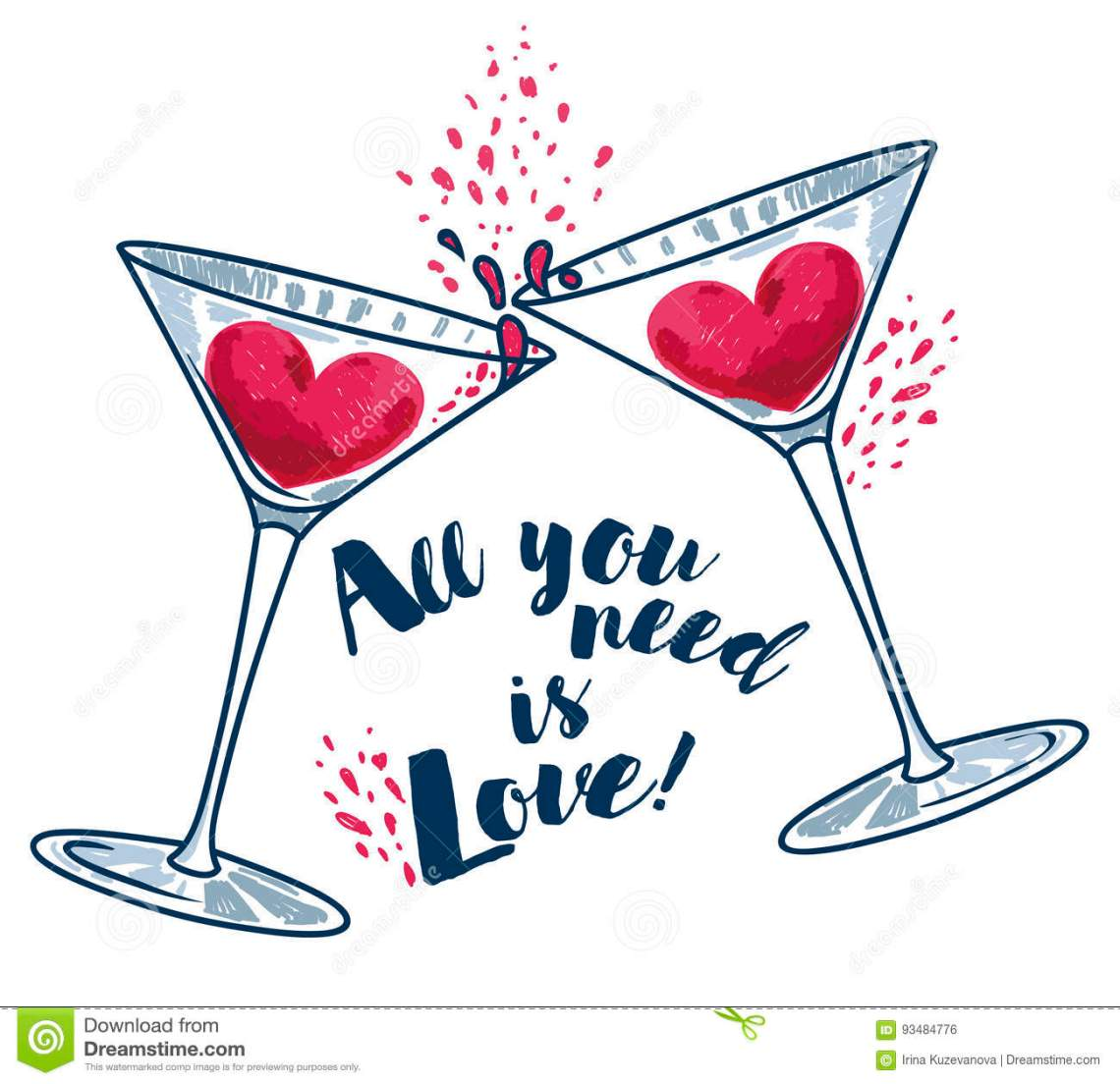 Download `All You Need Is Love` Poster With Two Martini Glasses And ...