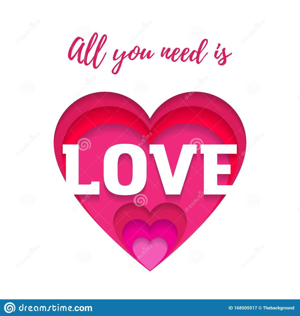 Download All You Need Is Love, Quote With Heart. Paper Cut Art ...
