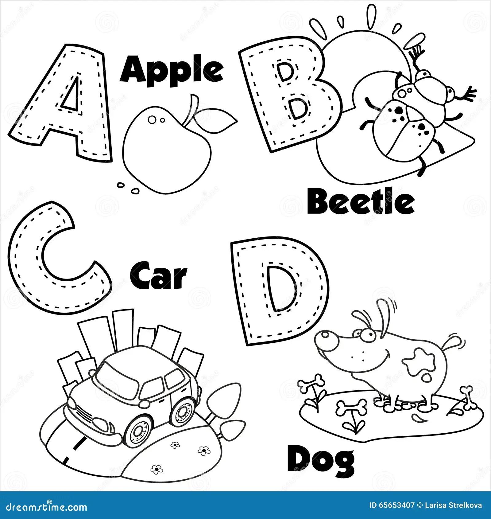 Alphabet Anglais Et Les Lettres A B C Et D Illustration