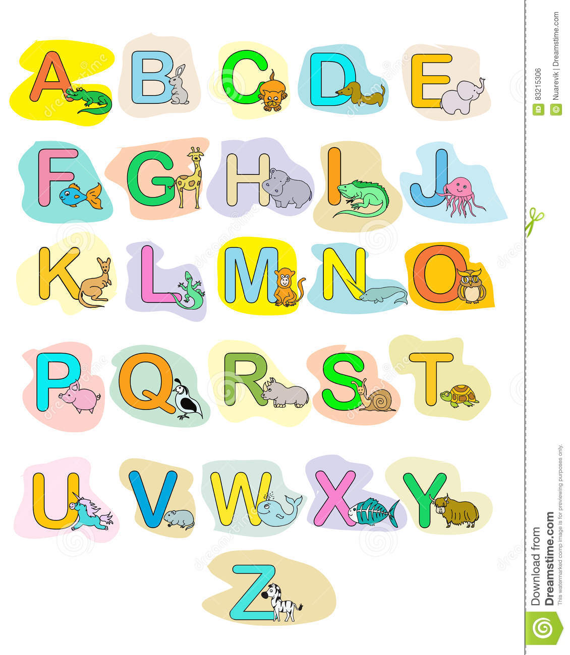 Alphabet Baby Animals Abc Children Color Poster Stock Illustration
