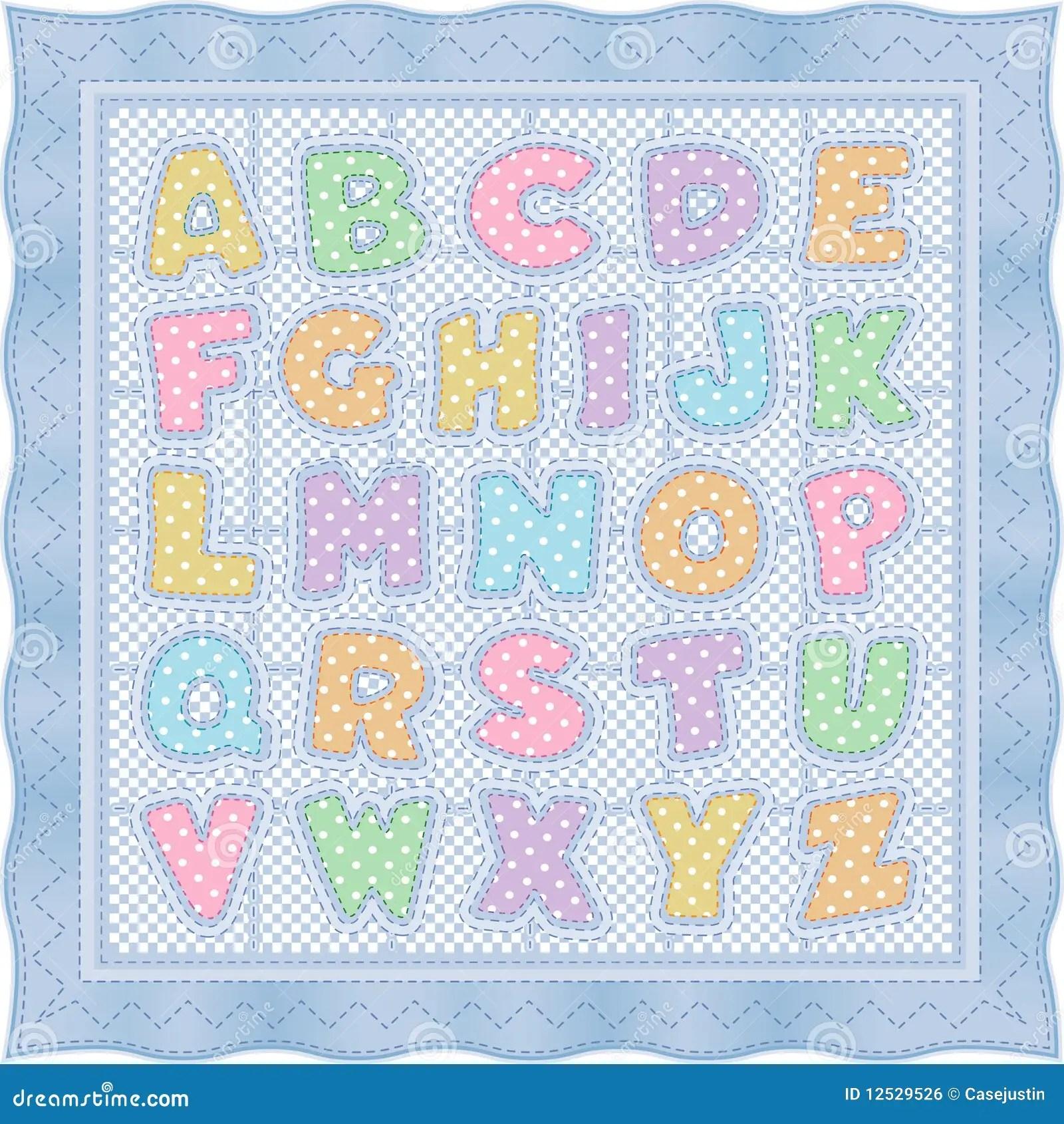 Alphabet Baby Quilt Blue Pastel Stock Vector