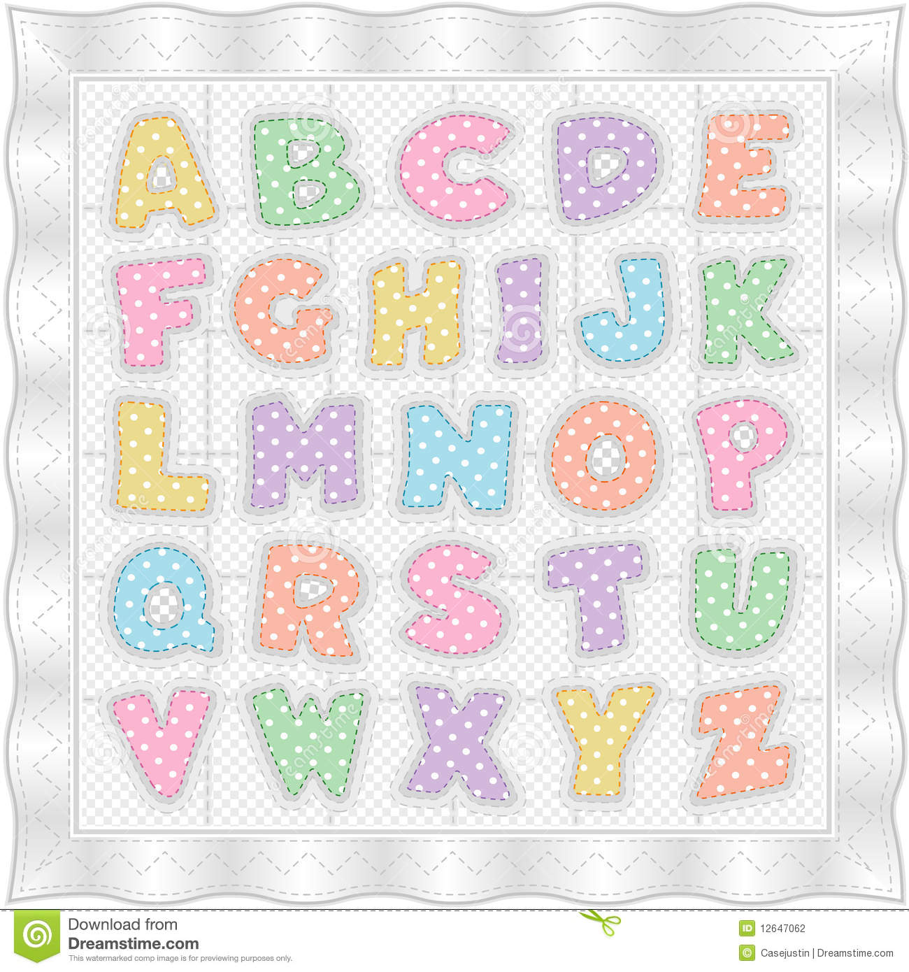 Alphabet Baby Quilt White Pastels Stock Vector Image
