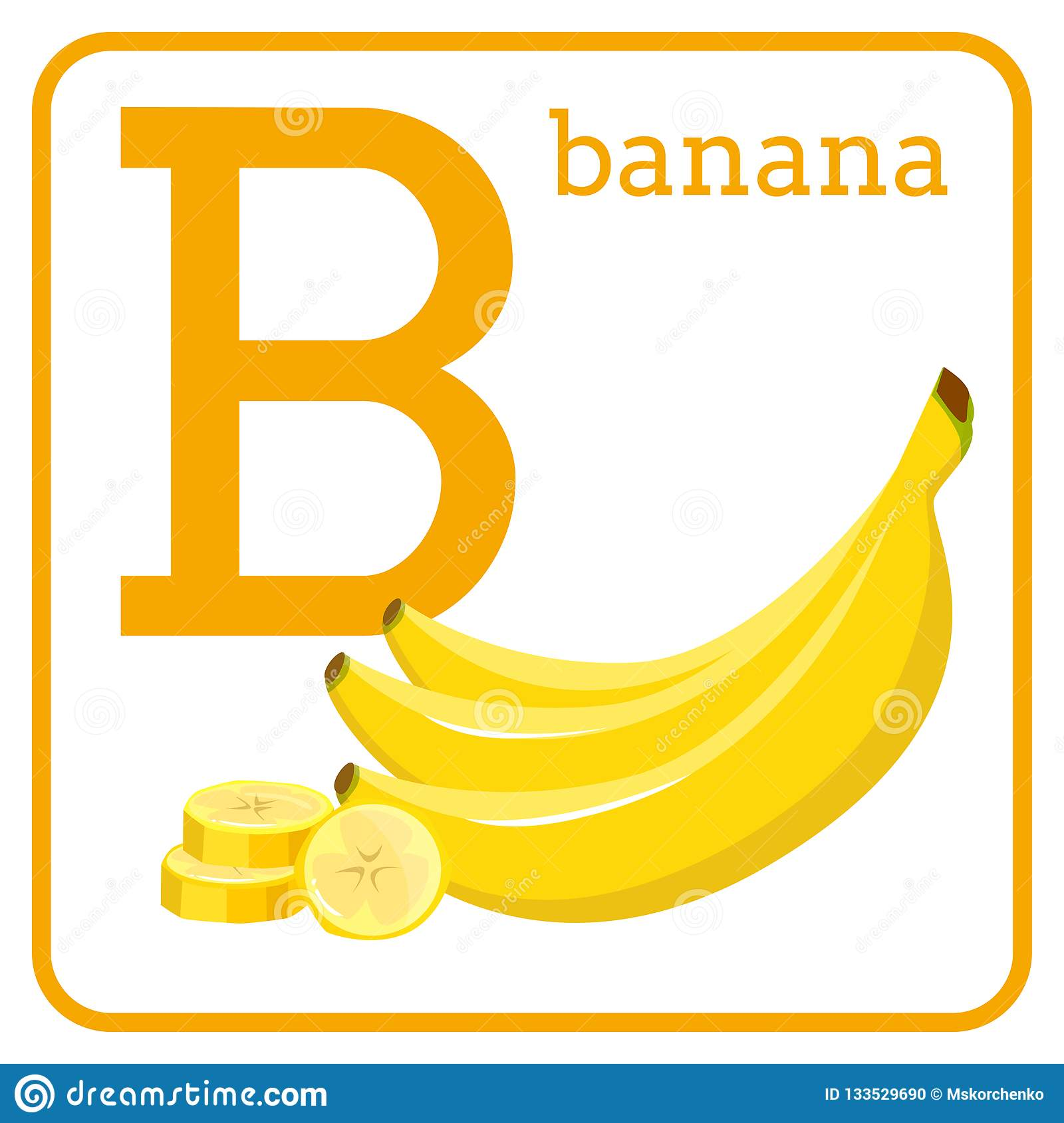 An Alphabet With Cute Fruits Letter B Banana Stock Vector