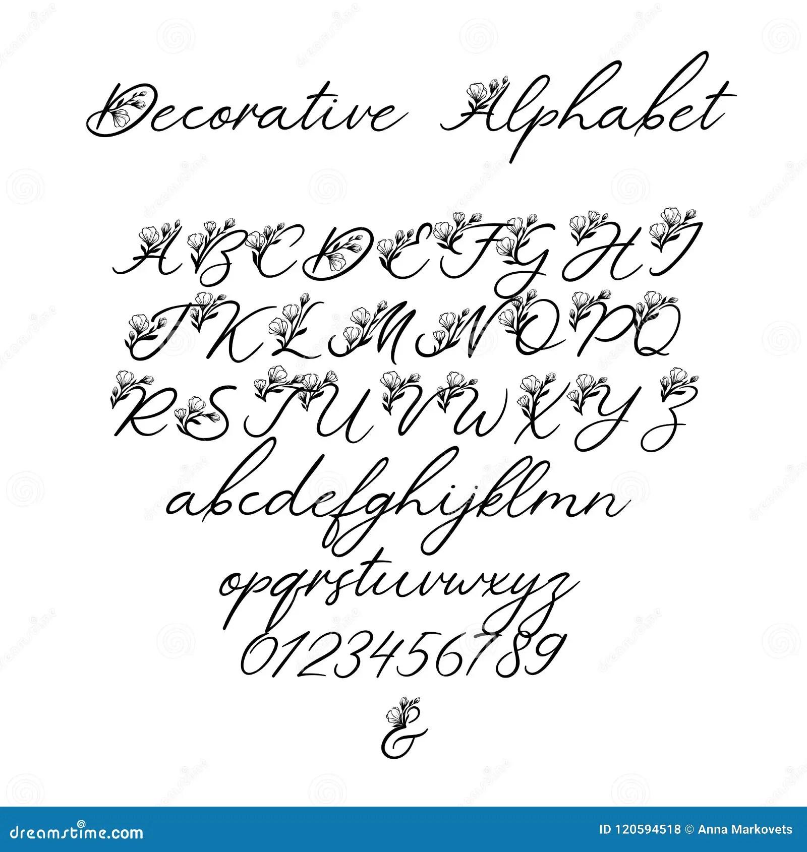 Alphabet De Calligraphie De Vecteur Lettres Florales