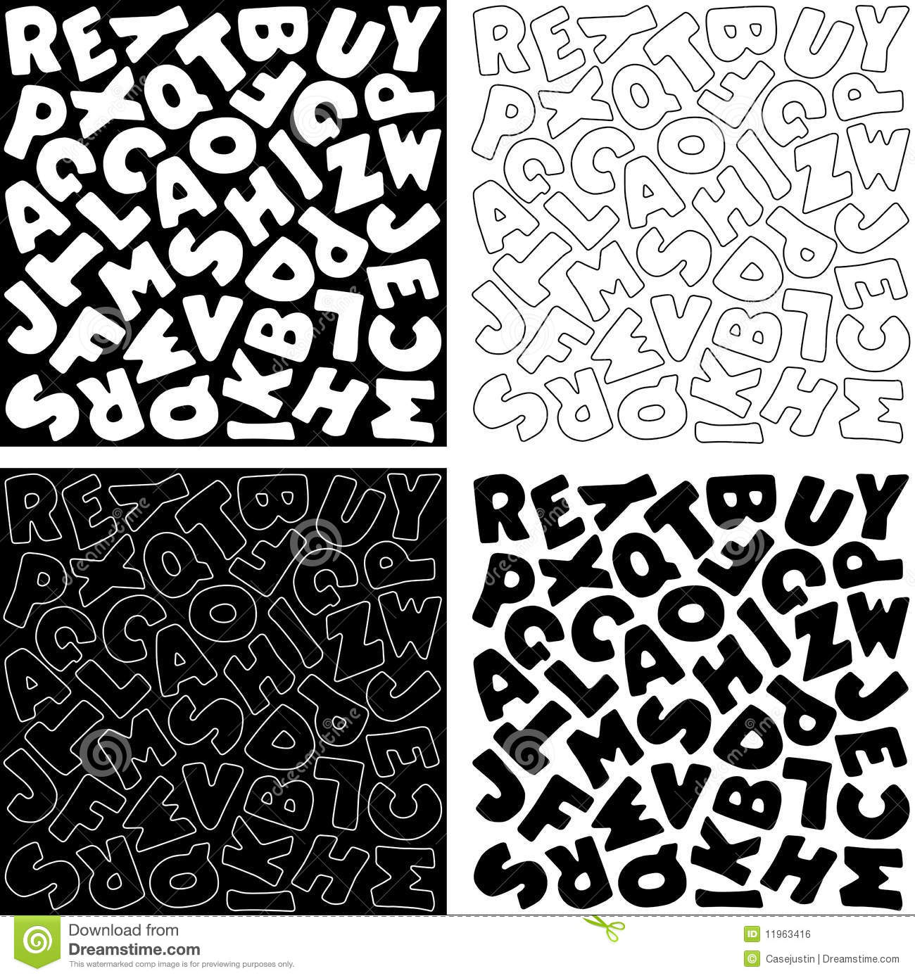 Alphabet Designs In Black And White Royalty Free Stock