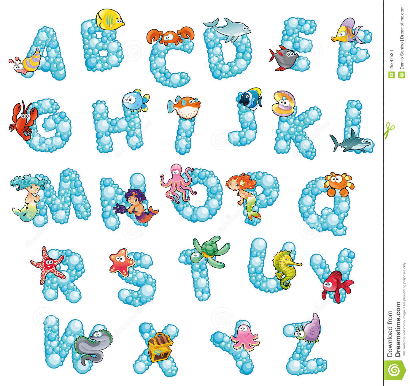 Alphabet With Fish And Bubbles Stock Vector