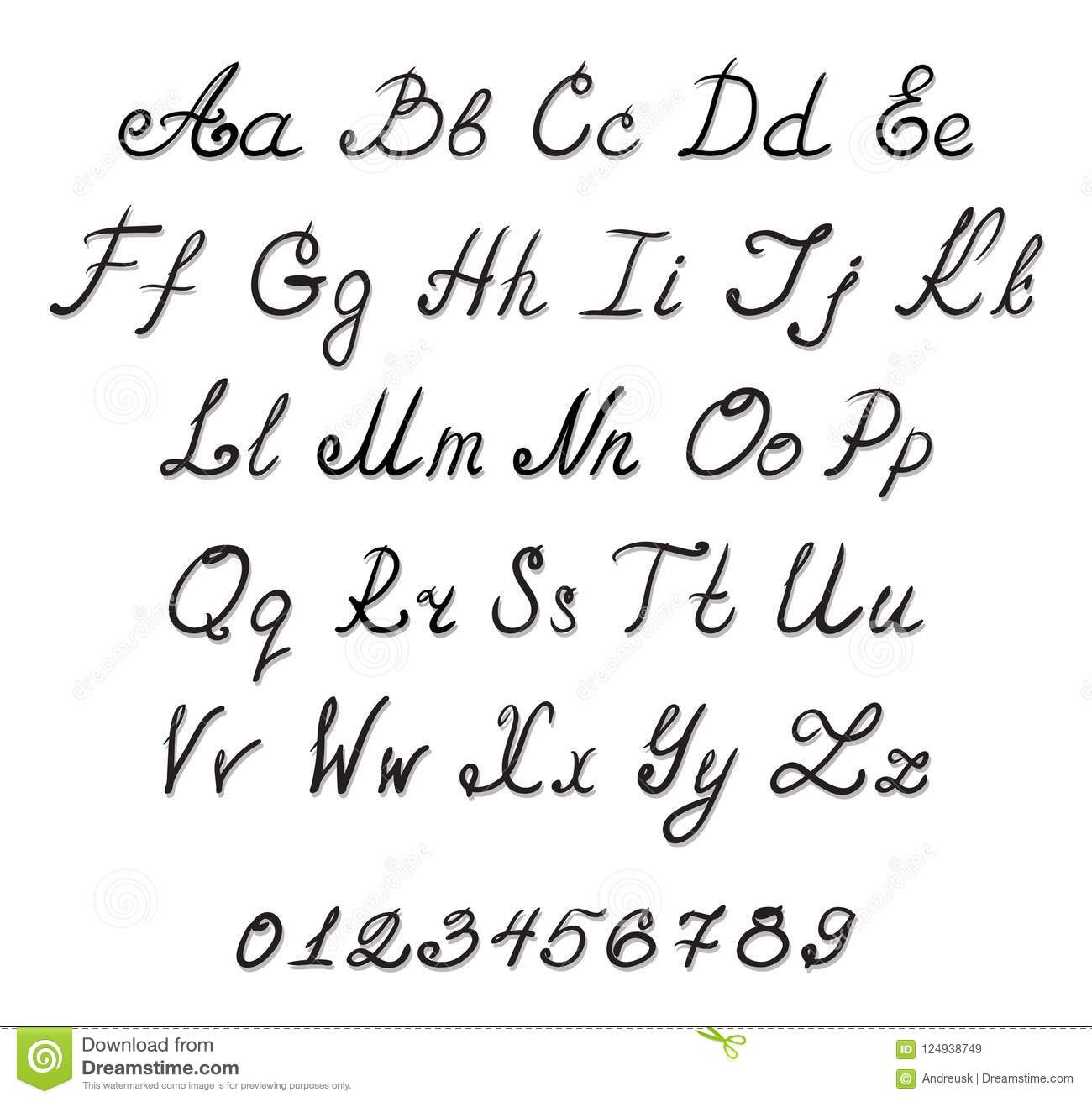 Alphabet Handwriting Fonts Stock Vector Illustration Of