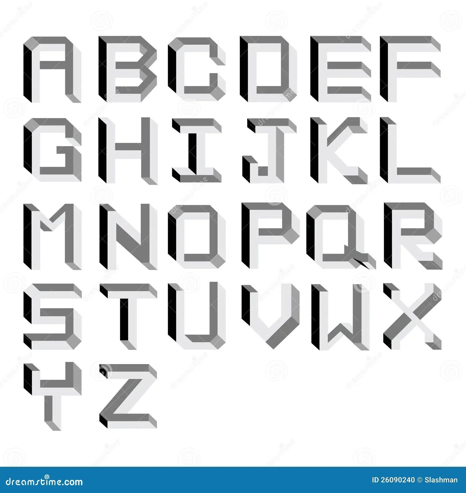 Alphabet Impossible De Vecteur. Tapez L'illustration