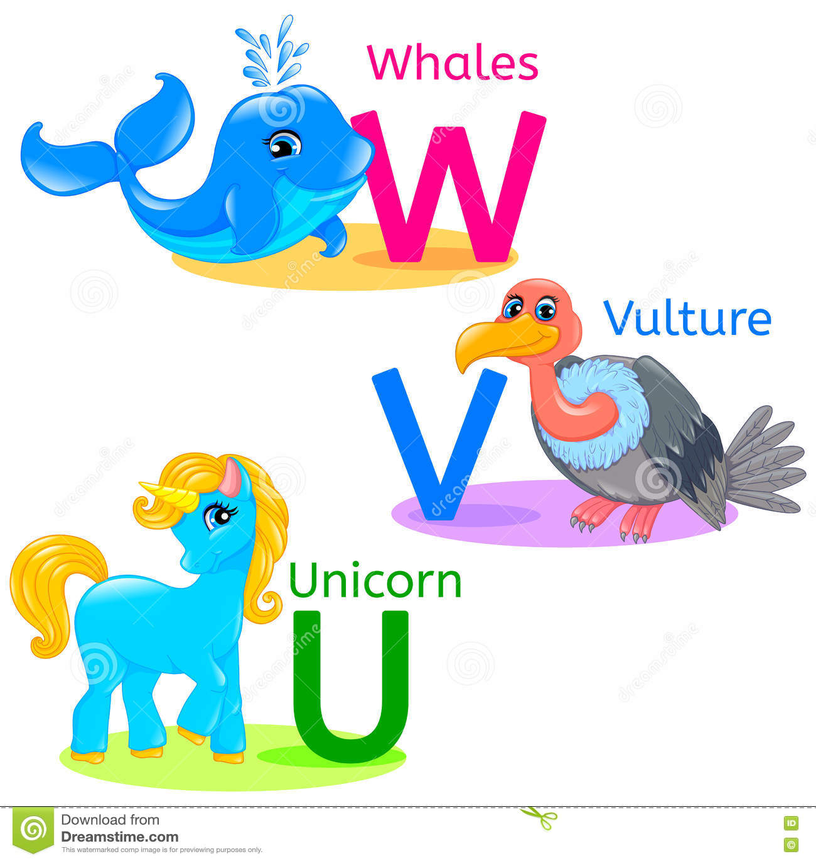 Illustration Isolated Alphabet Letter U Unicorn V Vulture Vector Illustration