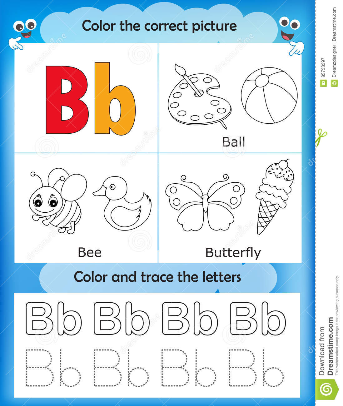 Alphabet Learning And Color Letter B Stock Illustration