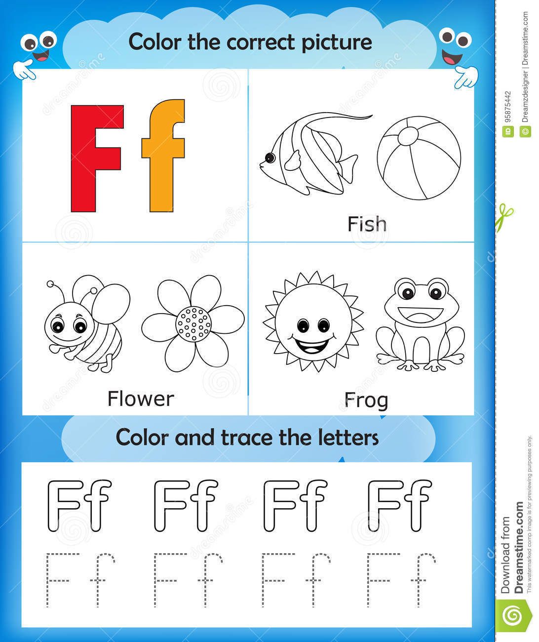 Alphabet Learning And Color Letter F Stock Illustration