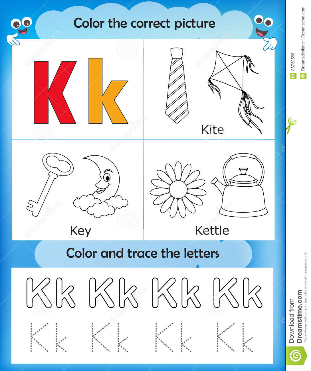 Alphabet Learning And Color Letter K Stock Illustration