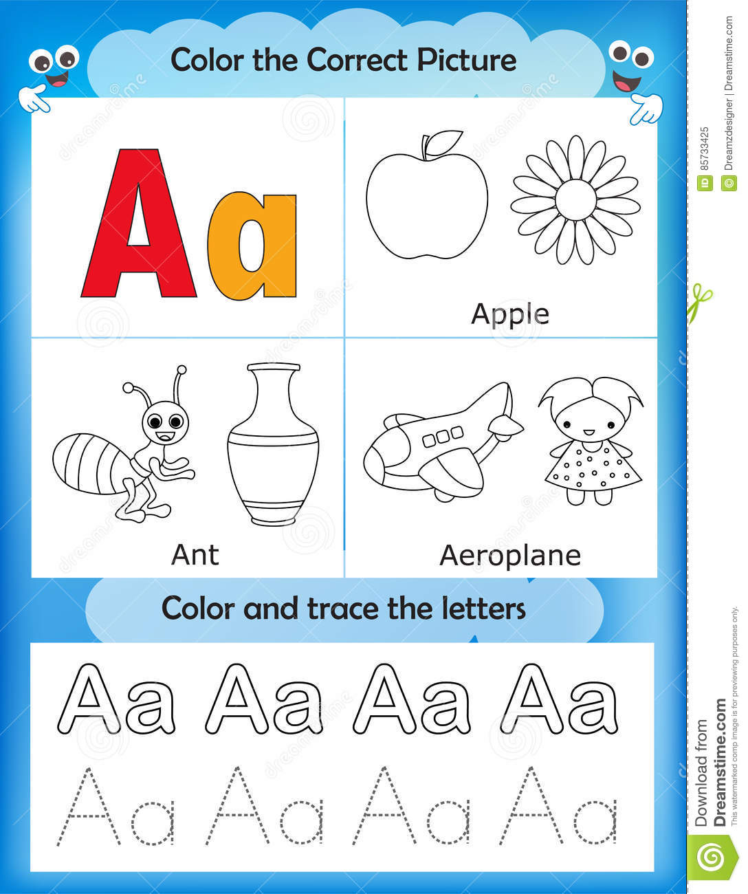 Alphabet Learning And Color Letter A Stock Illustration