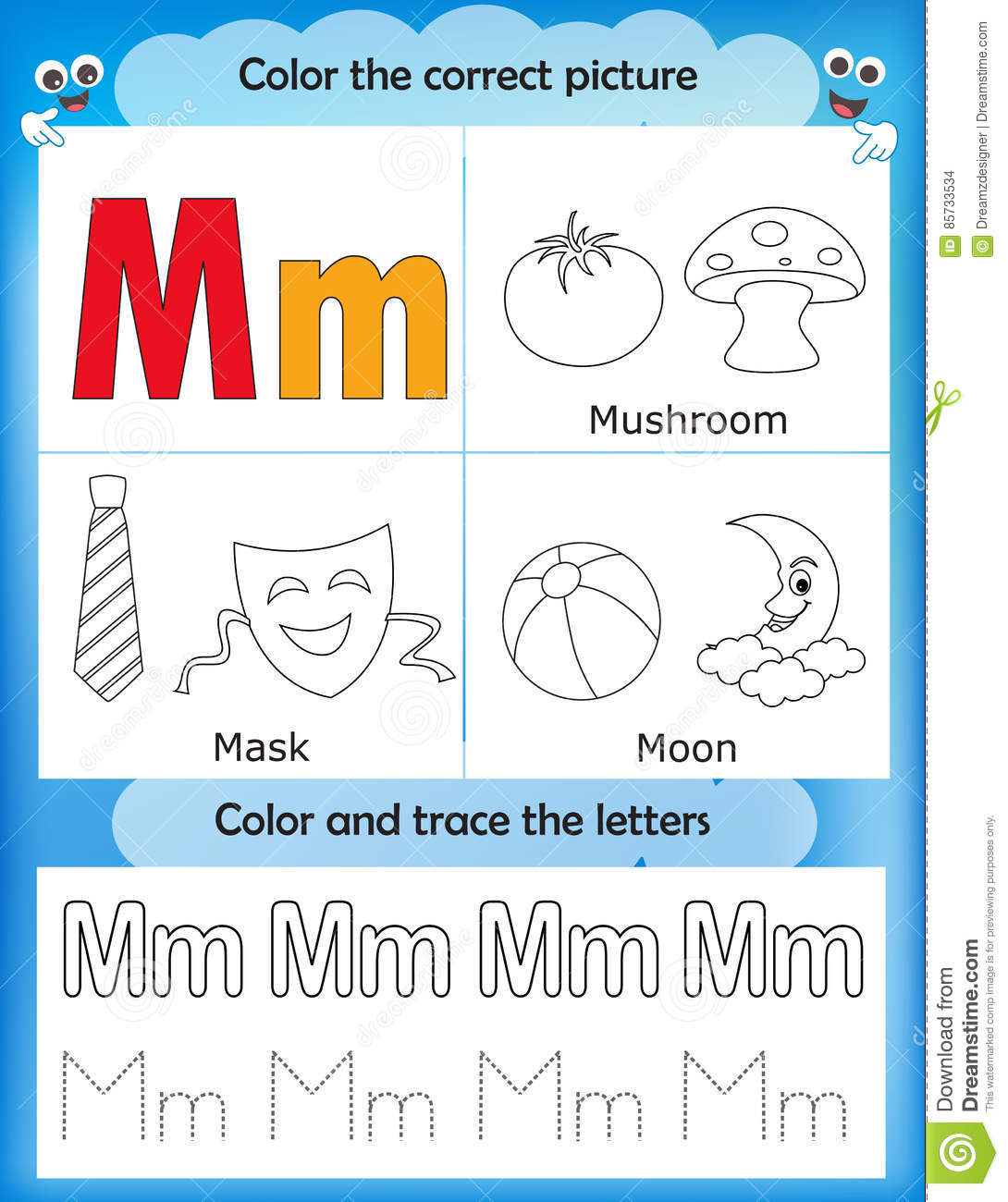 Alphabet Learning And Color Letter M Stock Illustration