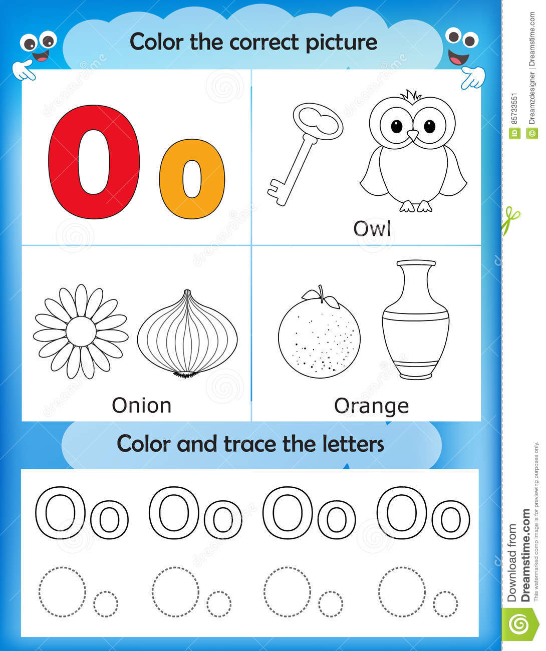 Alphabet Learning And Color Letter O Stock Illustration