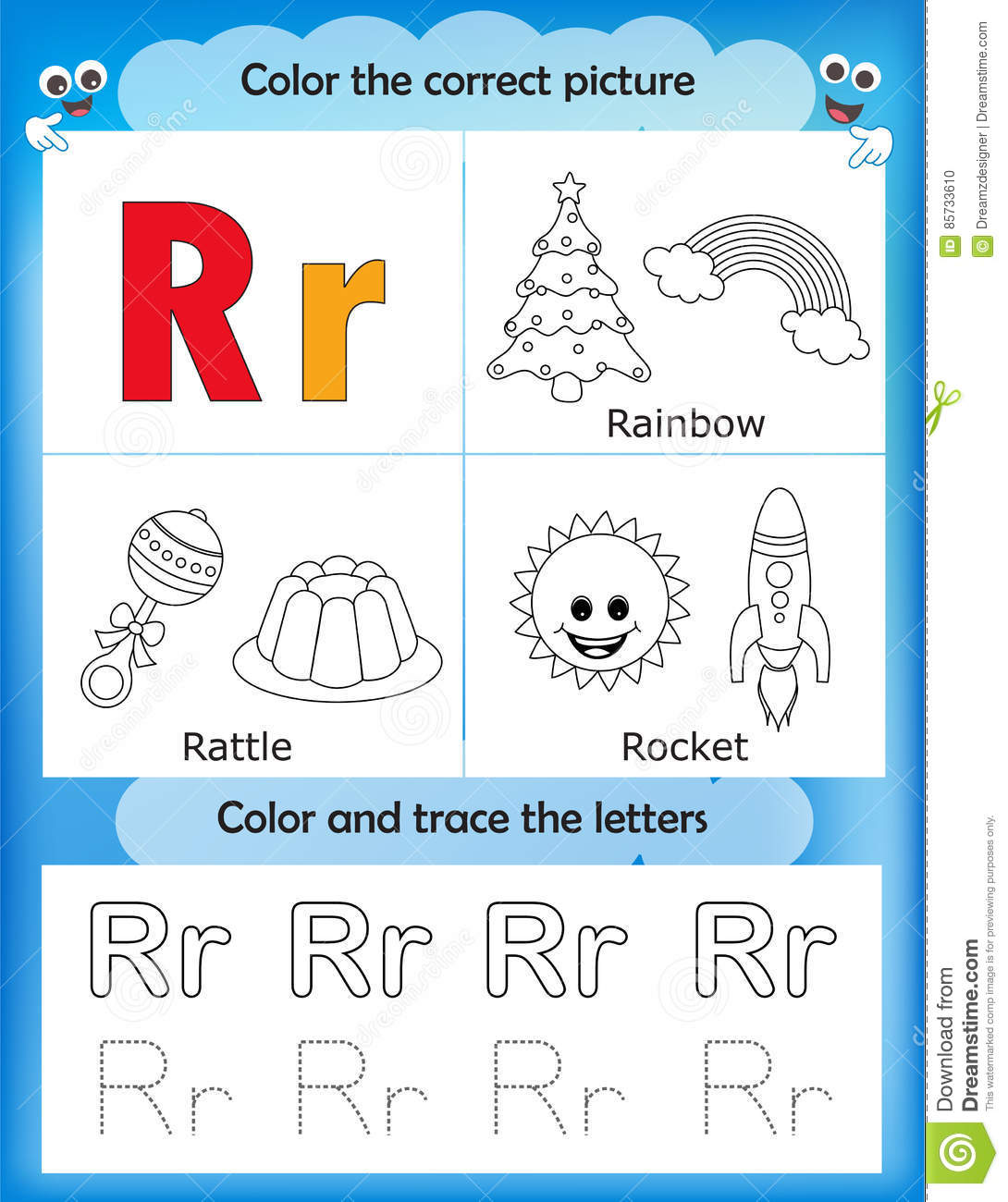 Alphabet Learning And Color Letter R Stock Illustration