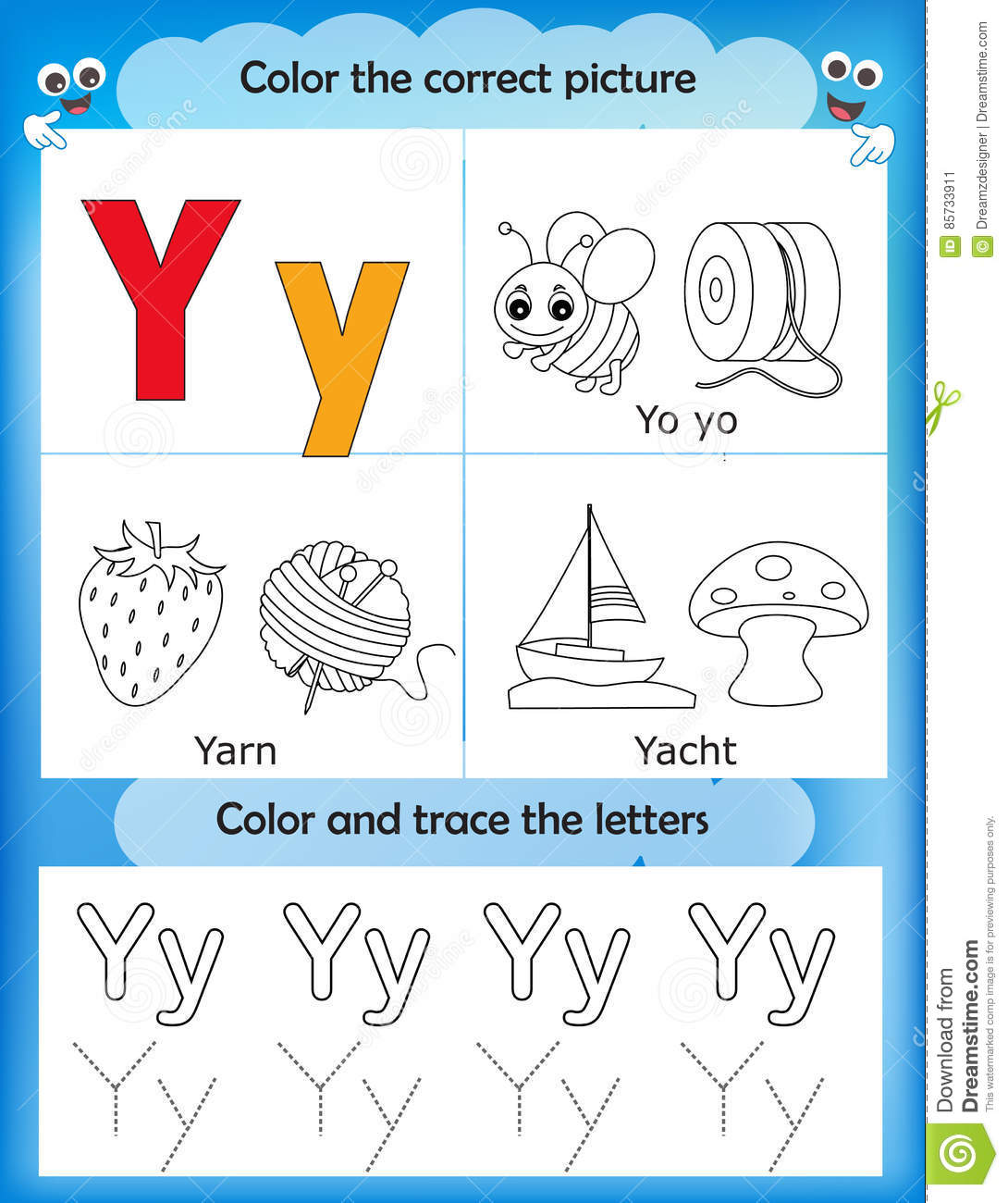 Alphabet Learning And Color Letter Y Stock Illustration