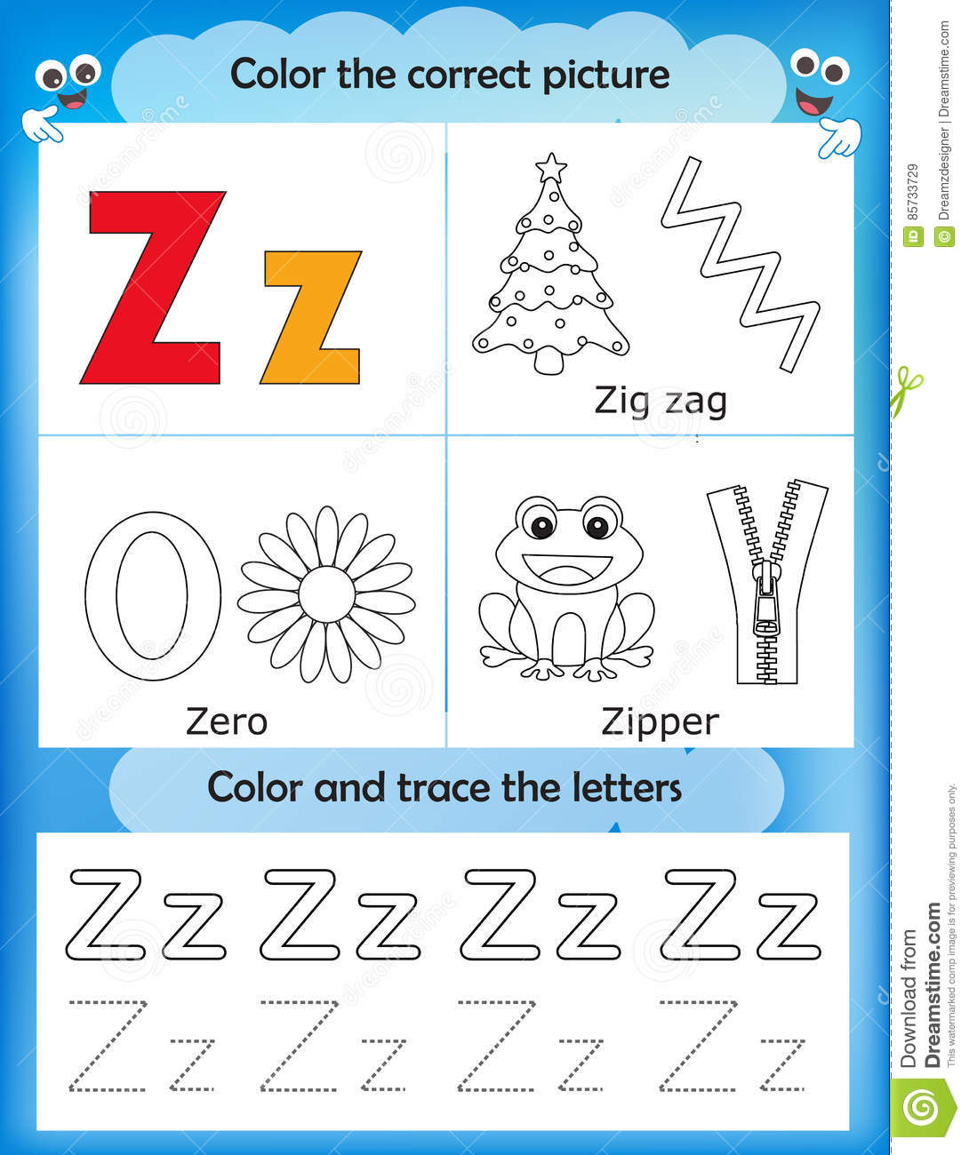 Alphabet Learning And Color Letter Z Stock Illustration