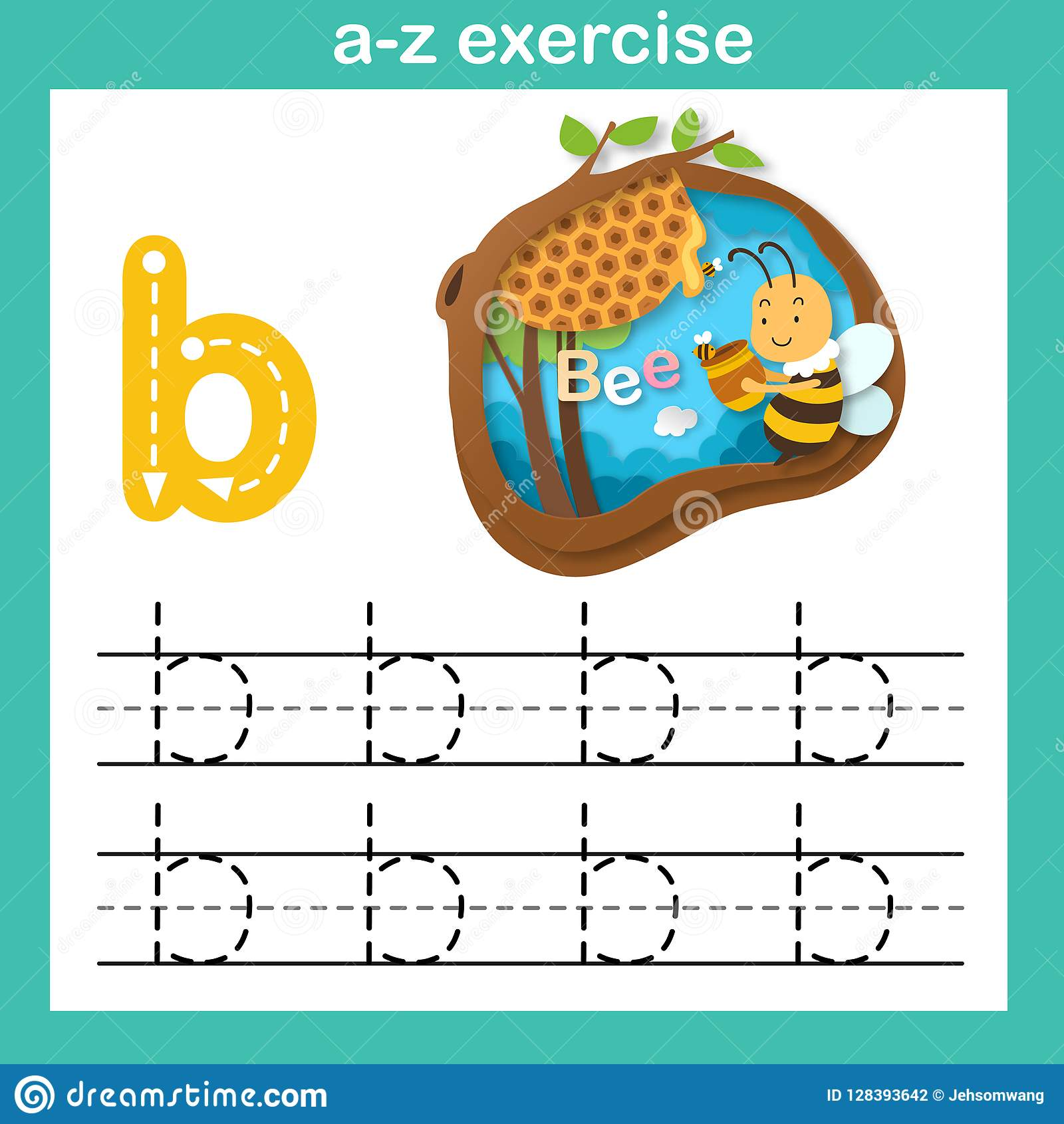 Alphabet Letter B Bee Exercise Paper Cut Concept Stock