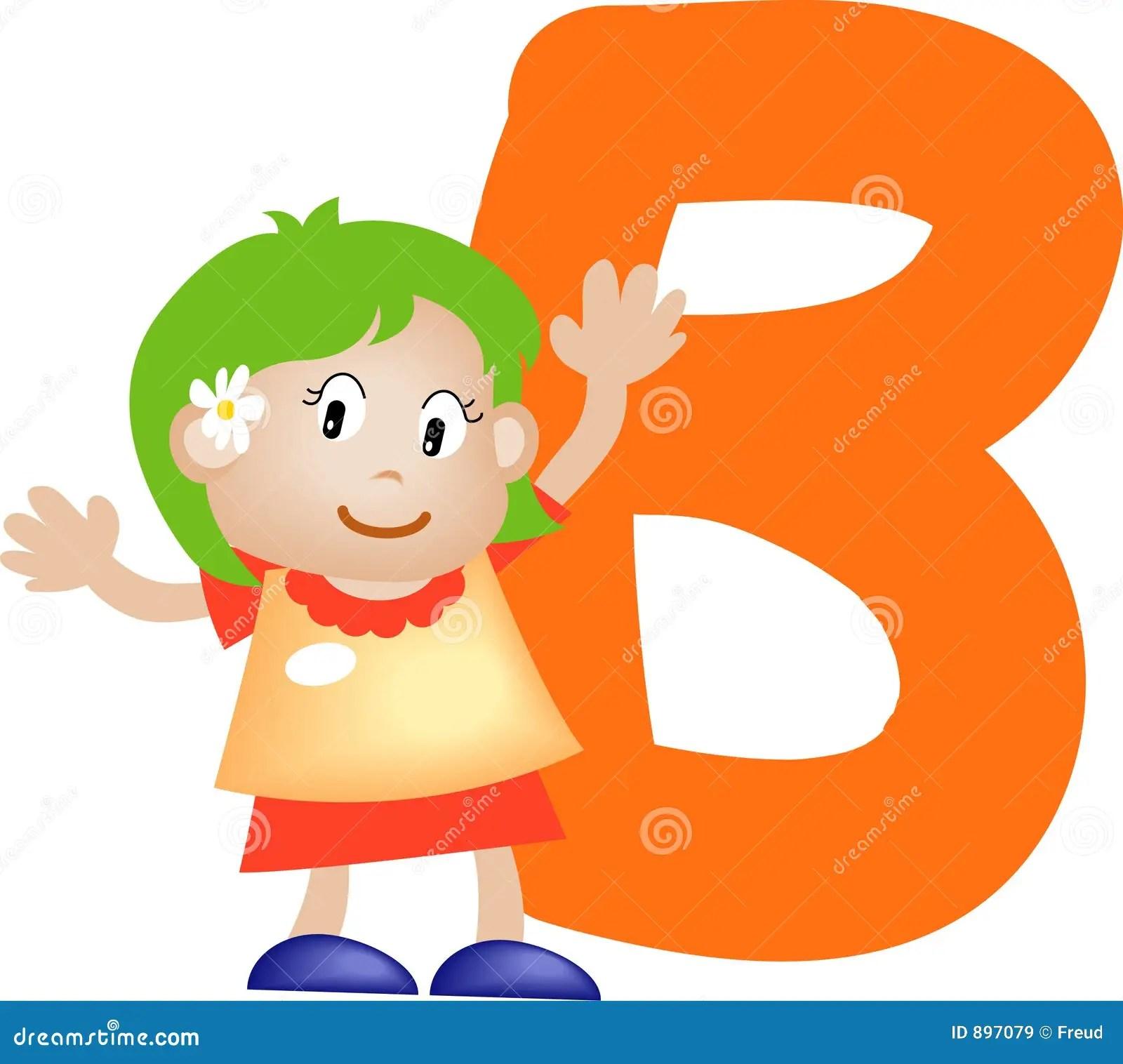 Alphabet Letter B Girl Stock Illustration Illustration