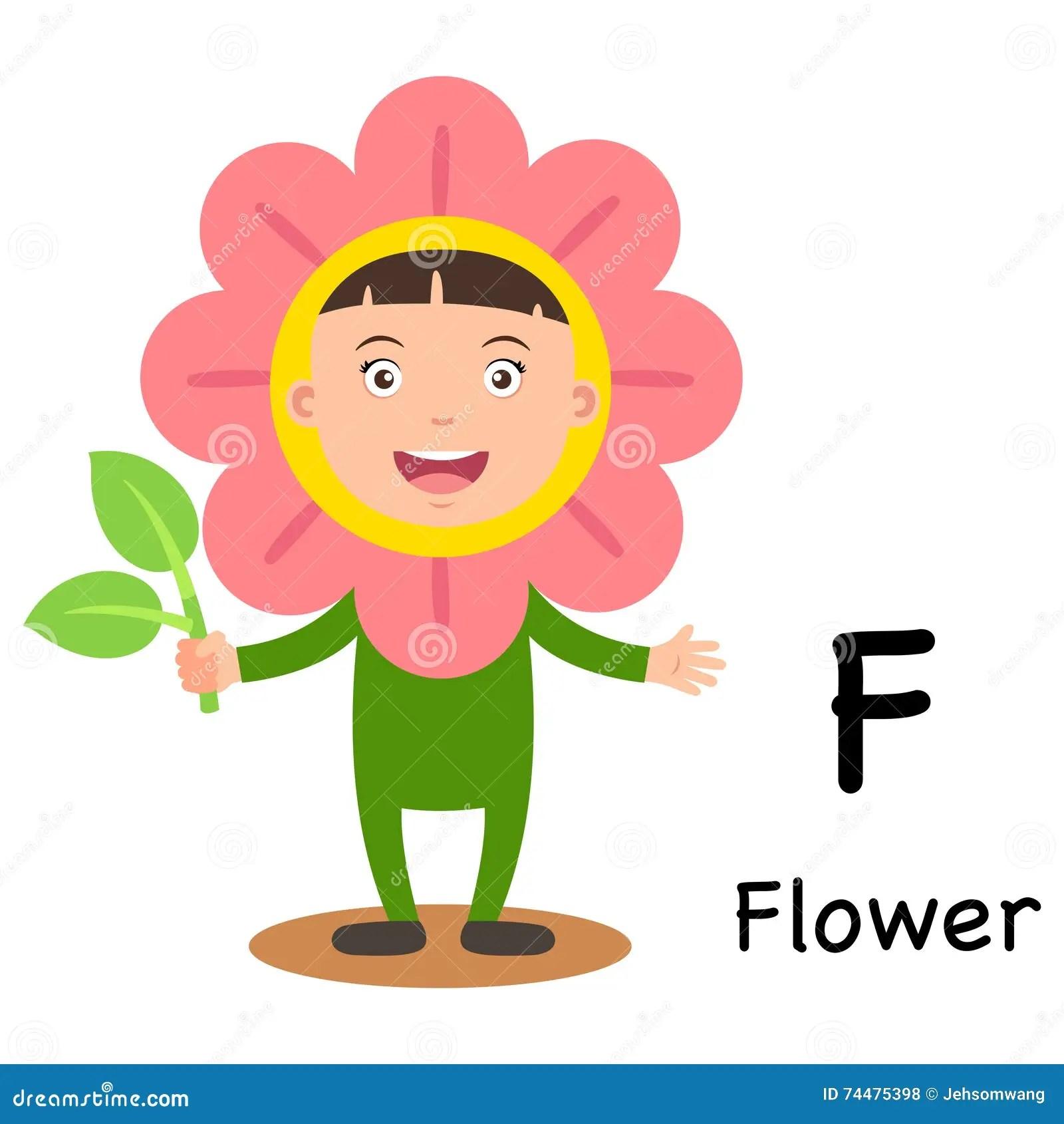 Alphabet Letter F Flower Stock Vector