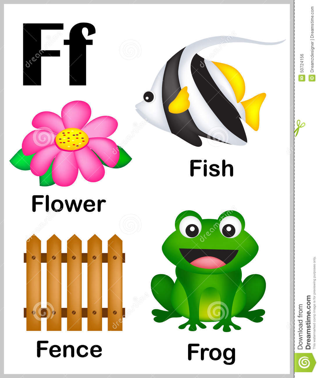 Alphabet Letter F Pictures Stock Vector