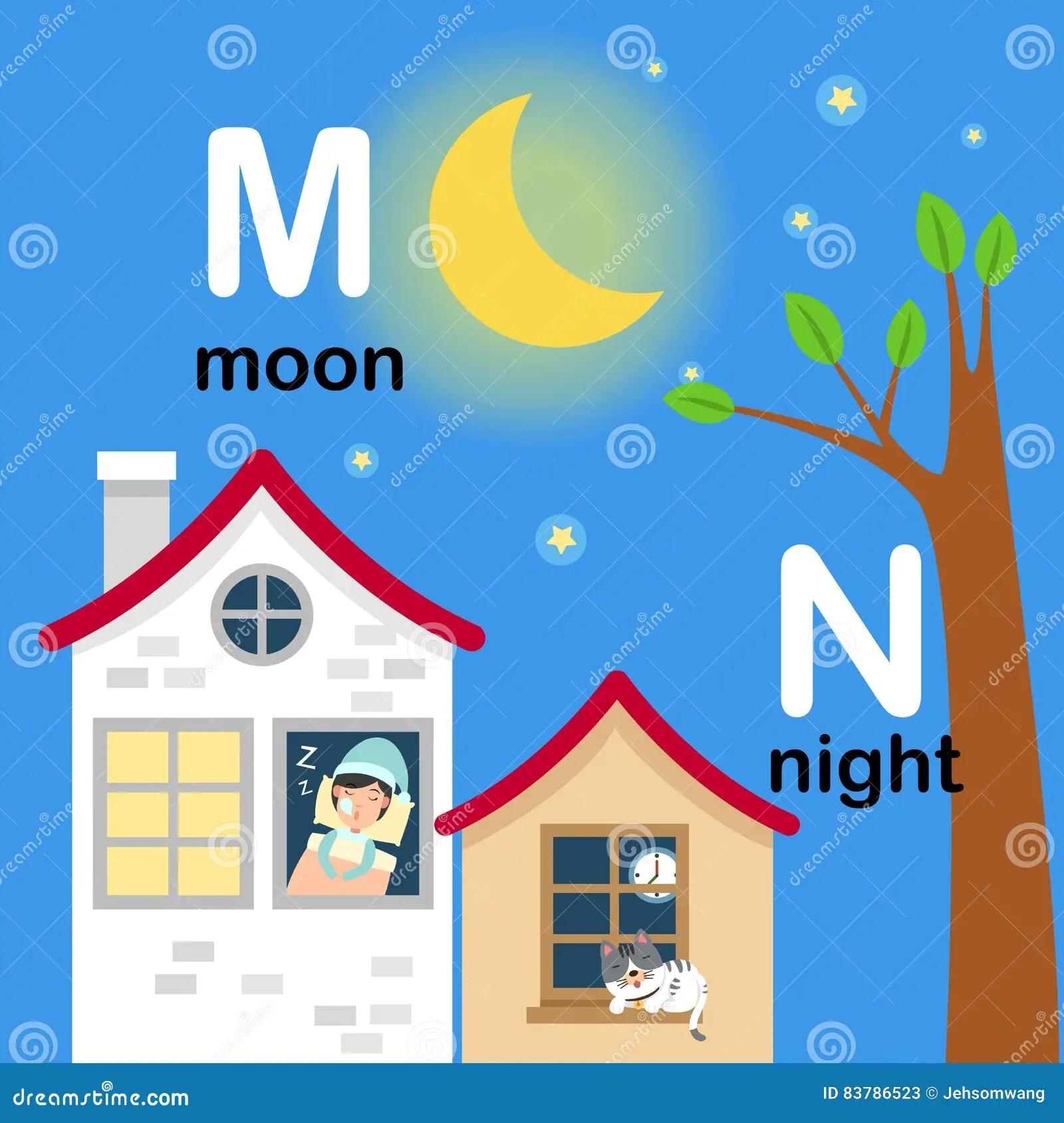 Alphabet Letter M Moon N Night Illustration Stock Vector