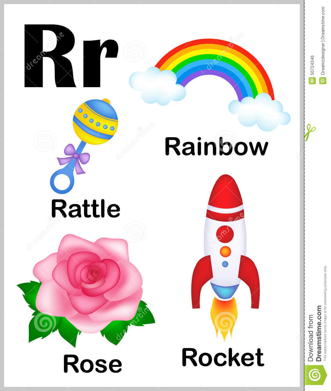 Alphabet Letter R Pictures Stock Vector Illustration Of