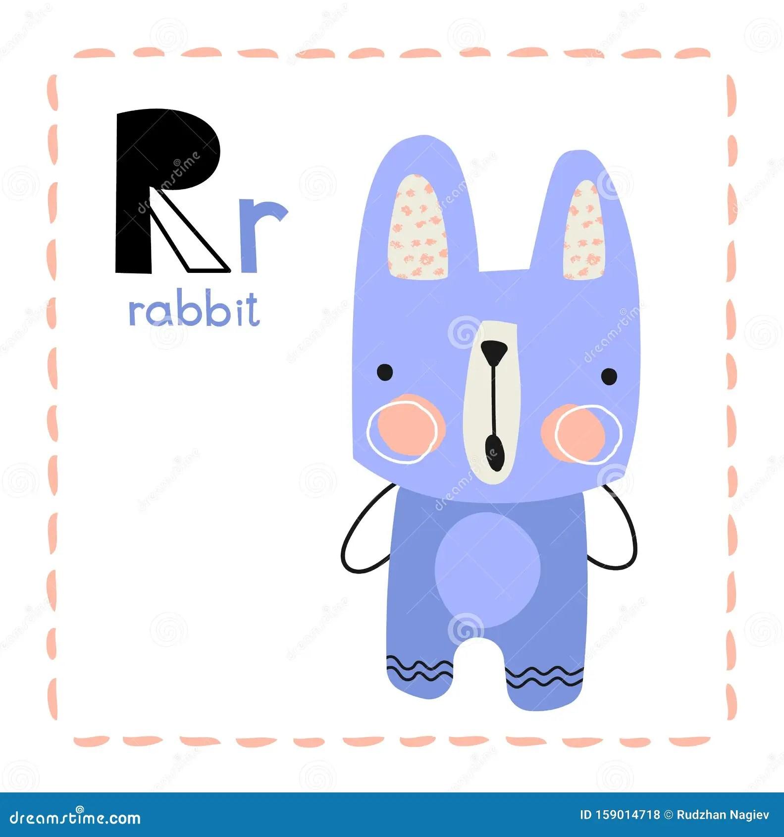 Alphabet Letter R For Rabbit For Kids Stock Vector