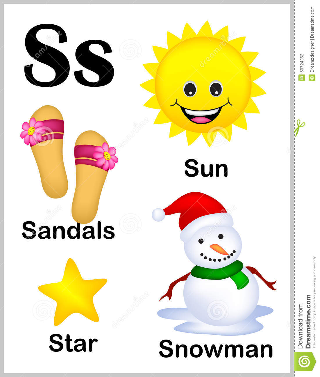 Alphabet Letter S Pictures Stock Vector Illustration Of