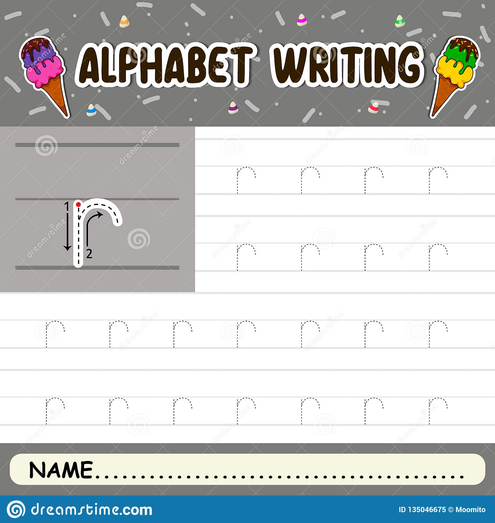 Alphabet Writing Stock Vector Illustration Of Horse