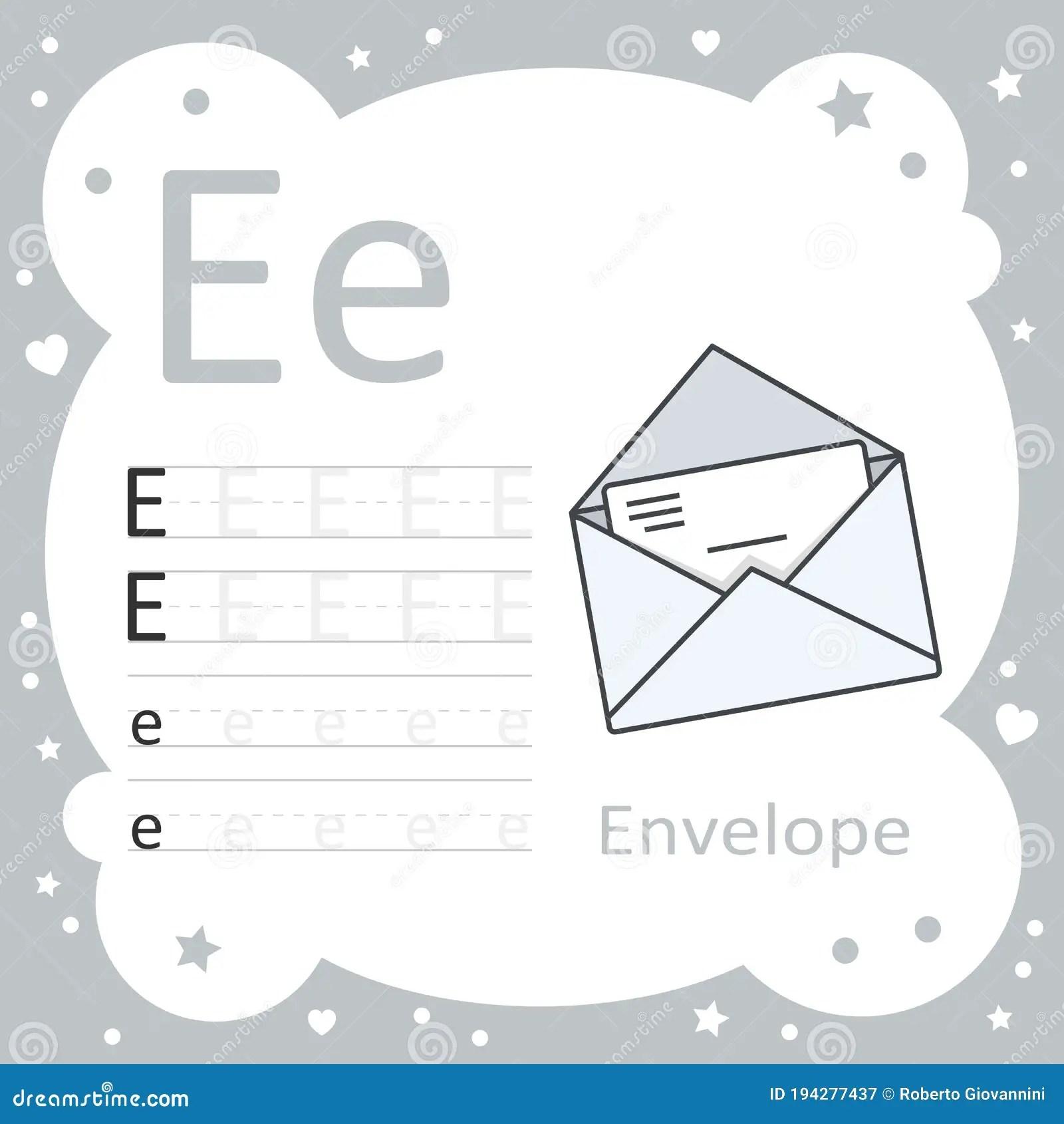Learning Alphabet Letters Envelope Stock Vector
