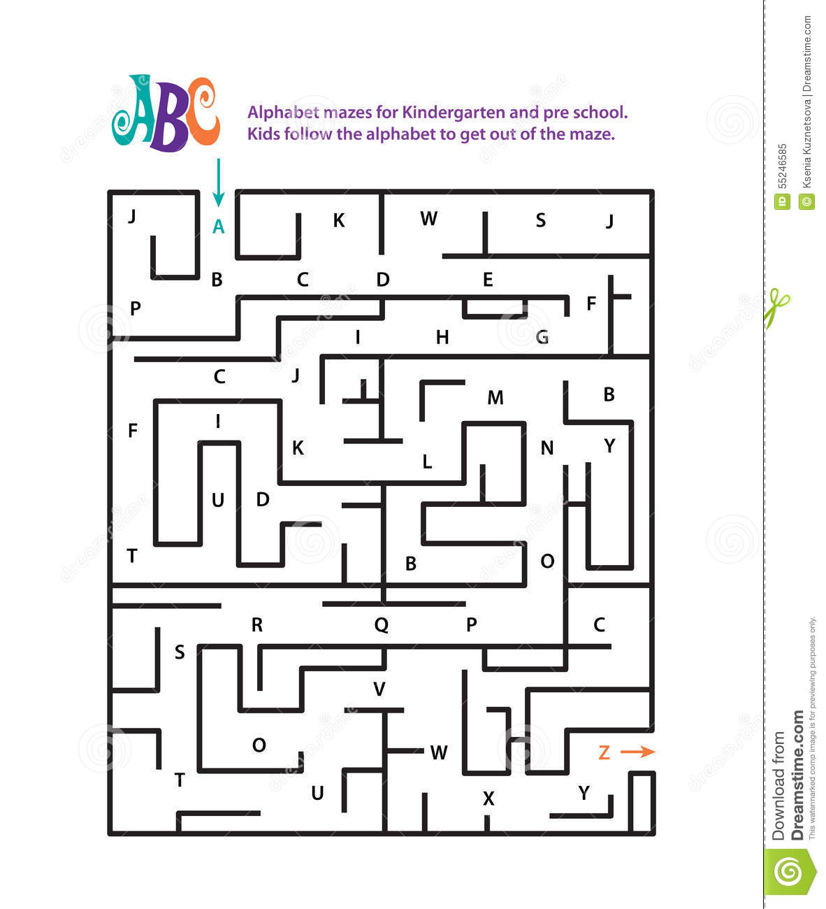 Alphabet Mazes For Kindergarten And Pre School Stock
