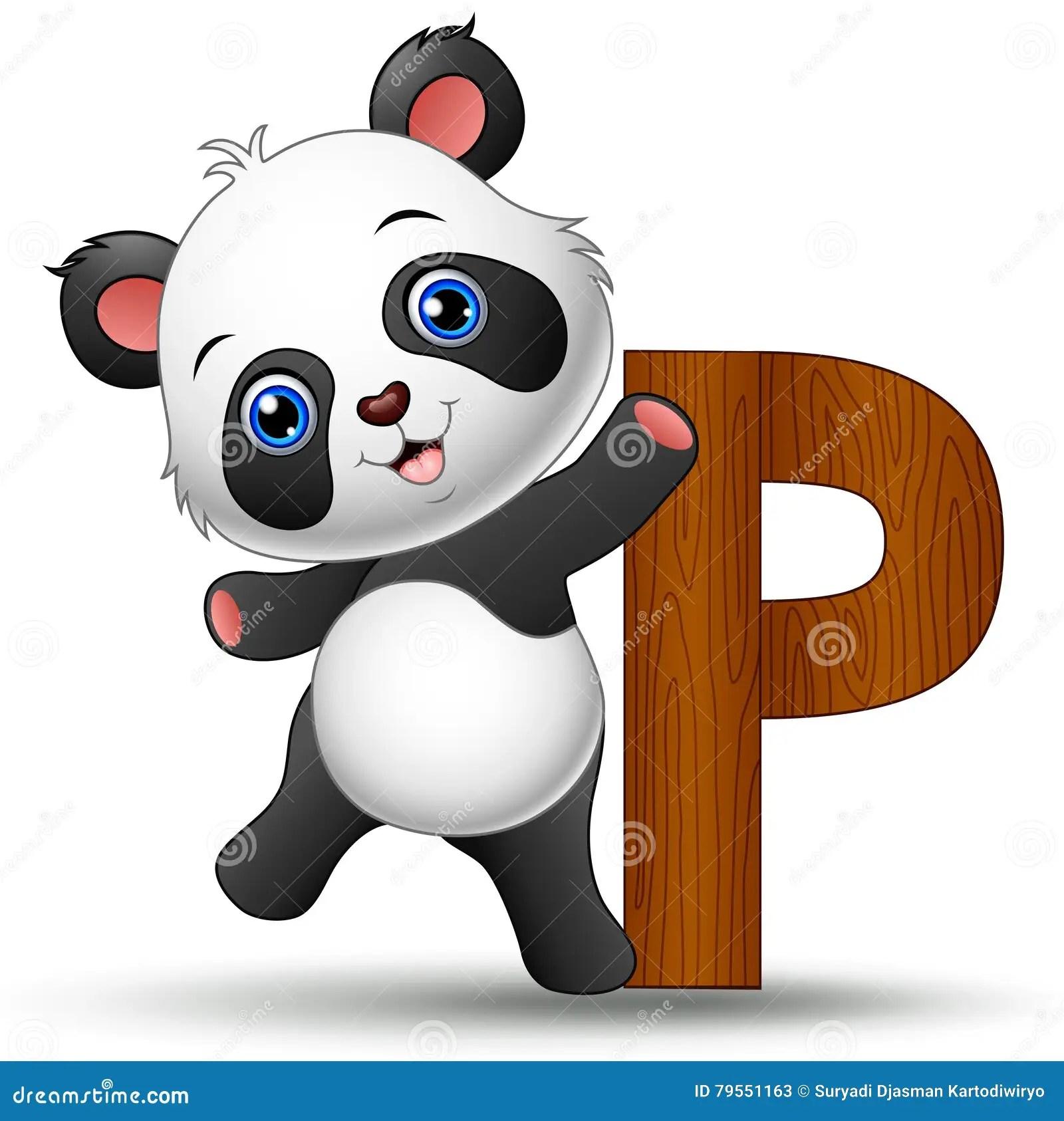 Alphabet P With Panda Cartoon Stock Vector