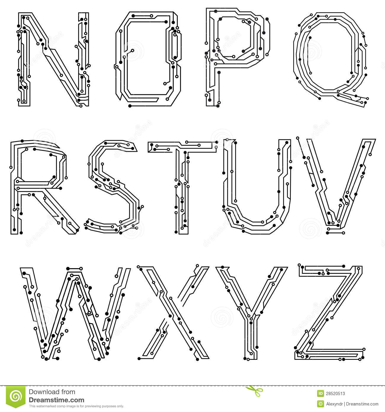 Alphabet Of Printed Circuit Boards Stock Vector