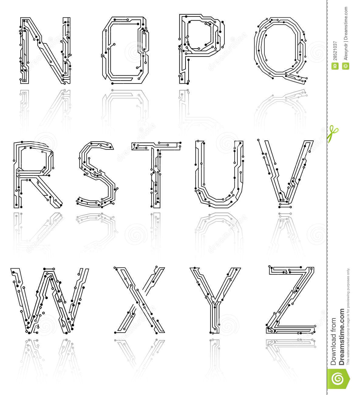 Alphabet Of Printed Circuit Boards Royalty Free Stock
