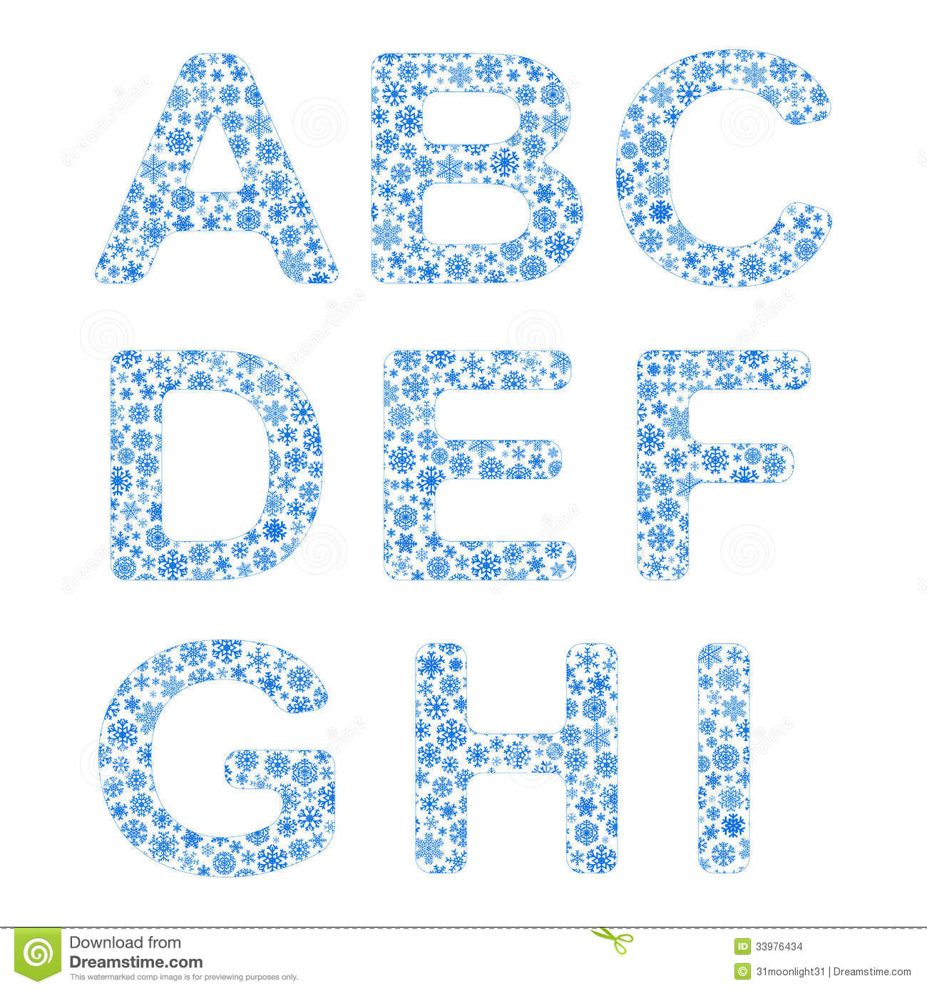 Alphabet From Snowflakes Stock Vector Illustration Of