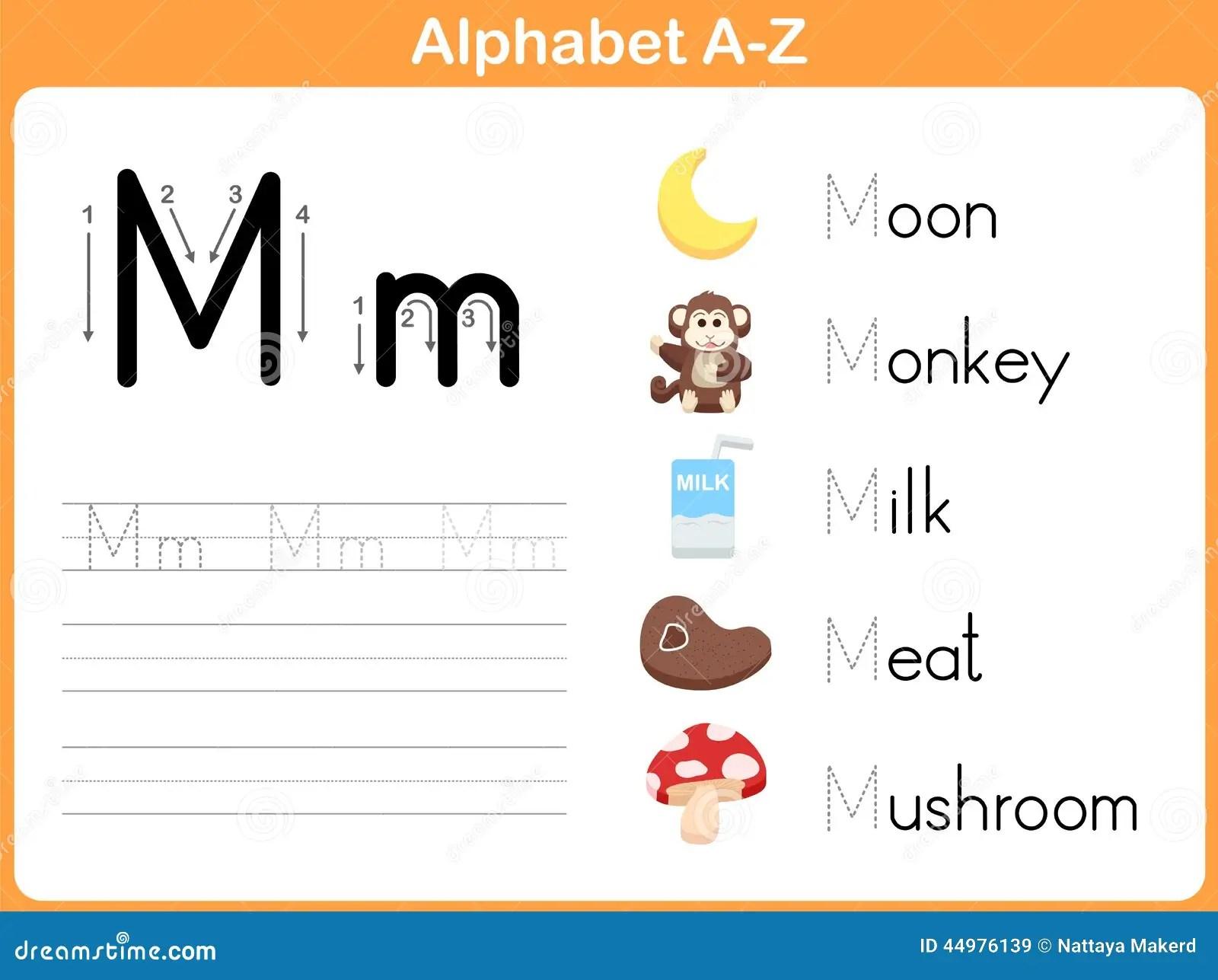Alphabet Spurarbeitsblatt Schreiben A Z Vektor Abbildung