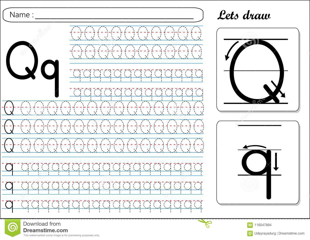 Tracing Worksheet Qq Stock Vector Illustration Of Practice