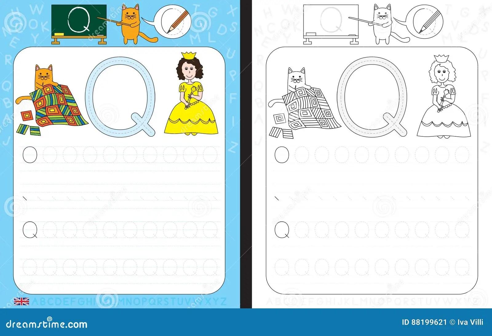 Alphabet Tracing Worksheet Stock Vector Illustration Of