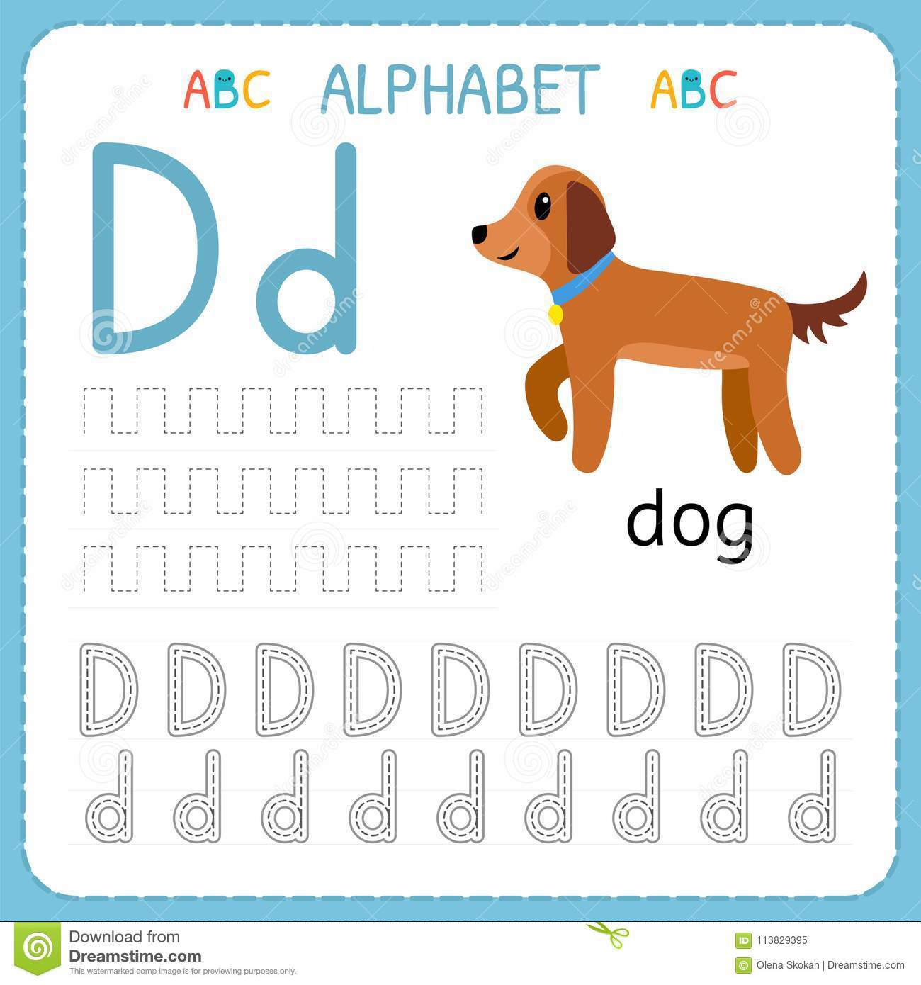 Alphabet Tracing Worksheet For Preschool And Kindergarten Writing Practice Letter D Exercises