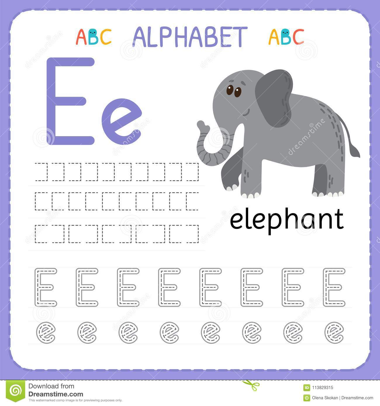 E Tracing Worksheet Preschool