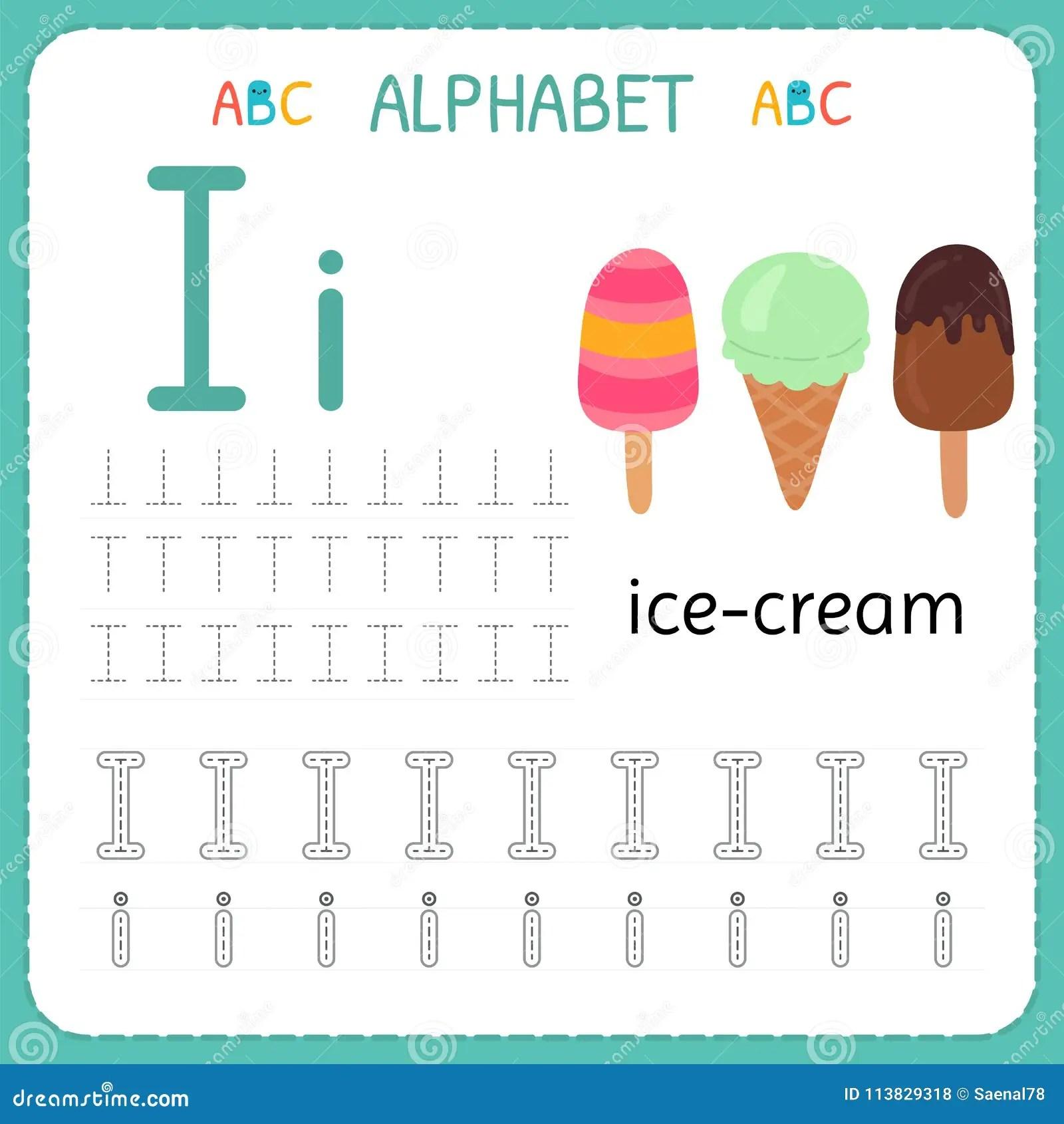Alphabet Tracing Worksheet For Preschool And Kindergarten Writing Practice Letter I Exercises