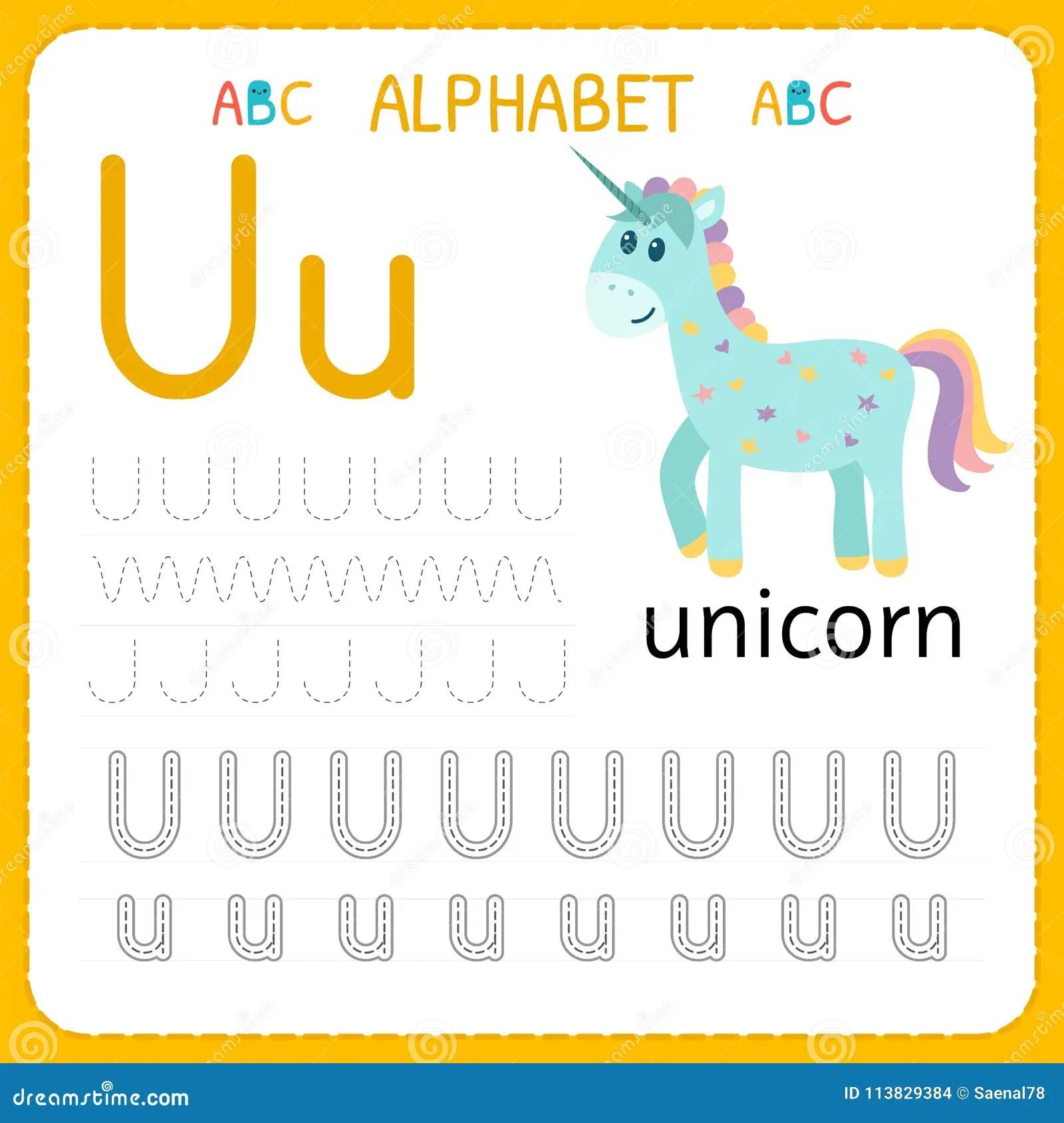 Alphabet Tracing Worksheet For Preschool And Kindergarten Writing Practice Letter U Exercises