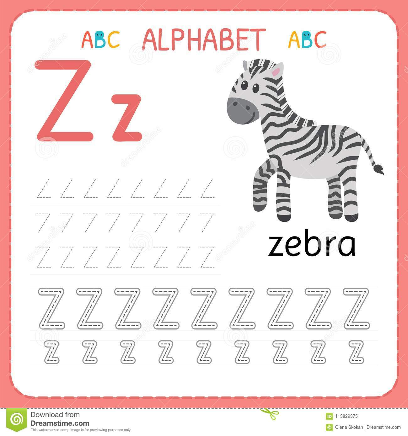 Alphabet Tracing Worksheet For Preschool And Kindergarten Writing Practice Letter Z Exercises