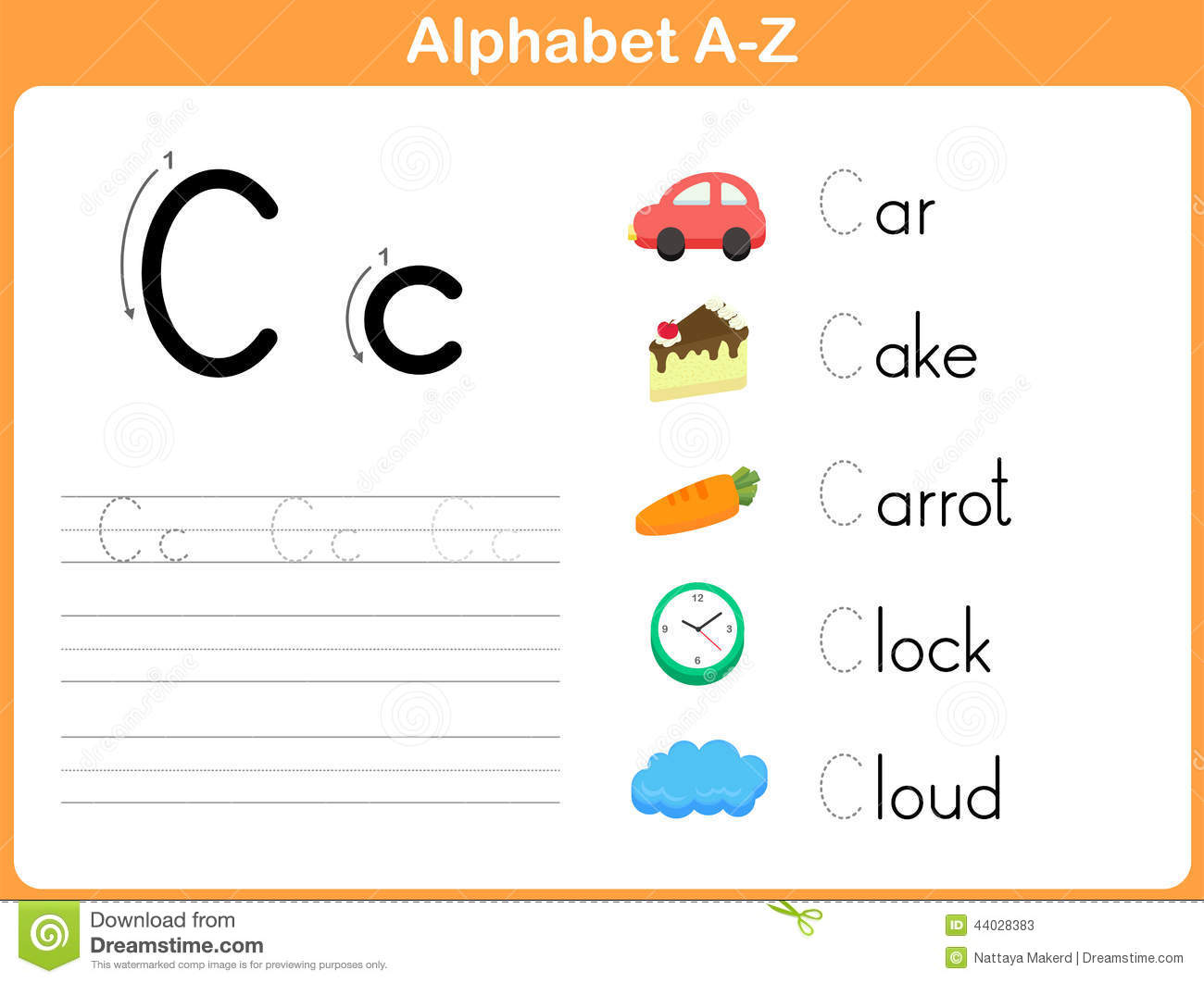 Alphabet Tracing Worksheet Stock Vector Image Of Educate