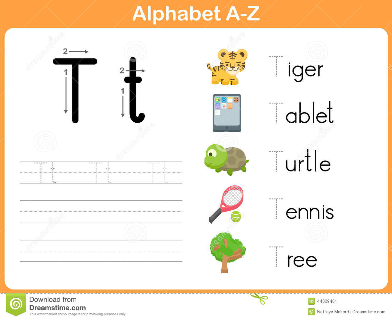 Alphabet Tracing Worksheet Stock Vector