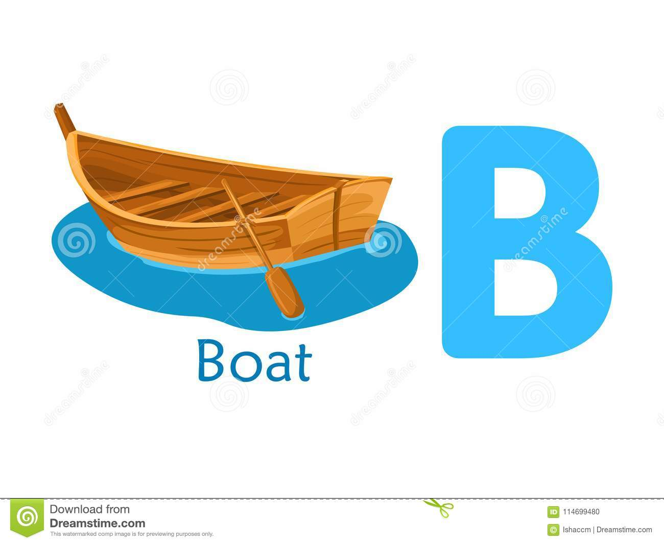 Alphabet Word B B For Boat Stock Vector Illustration Of