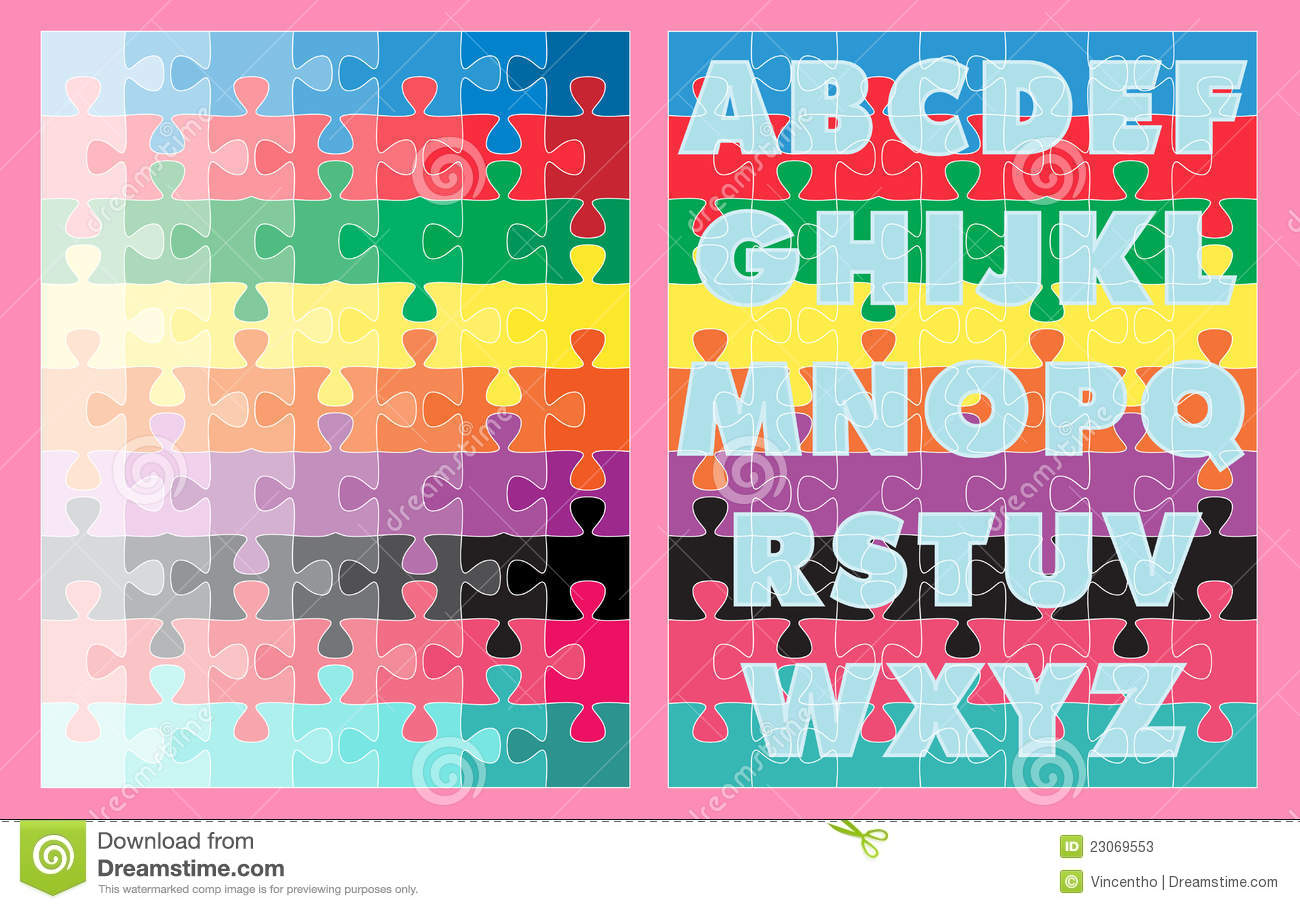 Alphabets Colors Learning Jigsaw Puzzles For Kids Stock Photos