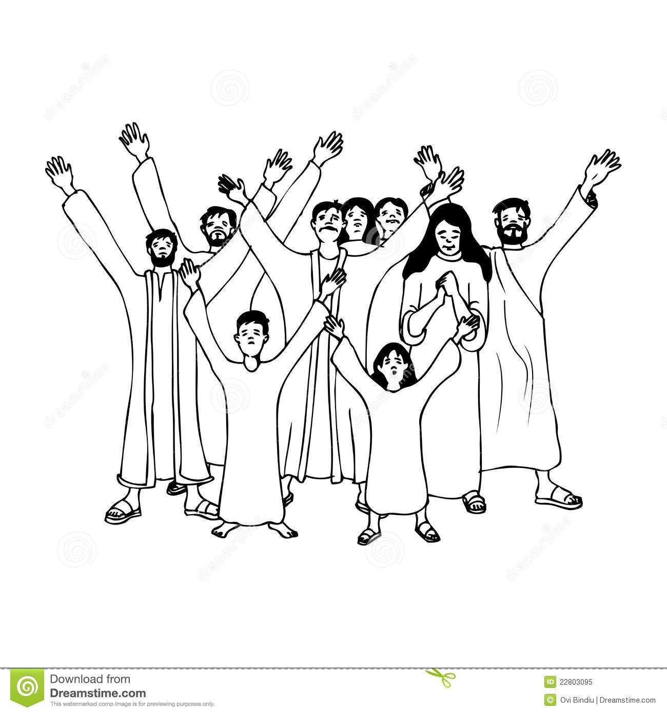 People Praying Clip Art Black And White Sketch Coloring Page